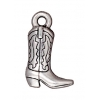 Charm Western Boot 14mm Antique Silver